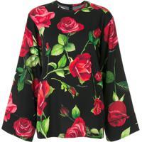 Dolce & Gabbana Blusa Floral Com Mangas Amplas - Preto