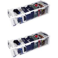 Kit Com 02 - Organizador De Gaveta Cristal 9 Nichos 14X10X38 - Organibox