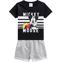 Conjunto De Camiseta Mickey Mouseâ® + Bermuda- Preto & Cibrandili