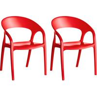 Conjunto Com 2 Cadeiras De Plástico Glass Vermelho