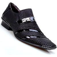 Sapato Social Masculino Calvest Artesanal Com Costura Manual - Masculino-Preto