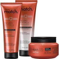 Combo Match Força: Shampoo, 250 Ml + Condicionador, 250 Ml + Máscara, 250 G