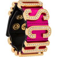 Moschino Embellished Logo Plaque Bracelet - Rosa