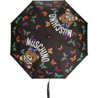 Moschino Guarda Chuva Com Estampa De Logo E Borboleta - Preto