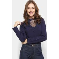 Body Chic Up Renda Manga Longa - Feminino-Marinho