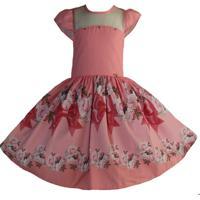 Vestido Katitus Juvenil Flores Laço Rosa