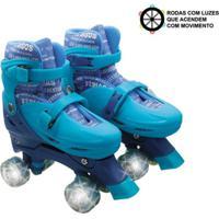 Patins Roller Infantil 4 Rodas Paralelas Azul Com Luz De Led Ajustã¡Vel De Menino - Unik Toys Multicolorido - Azul/Multicolorido - Dafiti