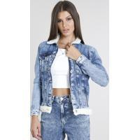 Jaqueta Jeans Feminina Com Pelo Azul Médio