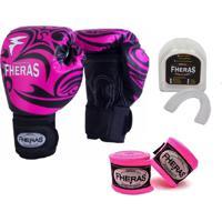 Kit Boxe Muay Thai Fheras New Top Luva + Bandagem Tribal Rosa 006