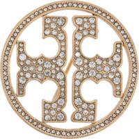 Tory Burch Broche Com Logo E Aplicação De Cristais - Dourado