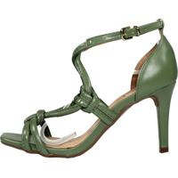 Sandália Salto Médio Week Shoes New Pele Verde Oliva