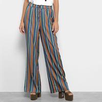 Calça Pantalona Lança Perfume Estampa Listrada Cintura Alta Feminina - Feminino-Marrom+Azul