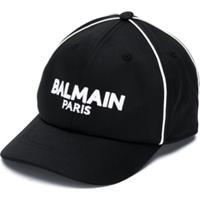 Balmain Kids Boné Com Logo - Preto
