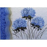 Quadro Artesanal Com Textura Hortensias Azul 70X100 Uniart