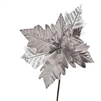 Flor Natalina Artificial Decorativa Prata Cabo Médio 40Cm