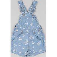 Jardineira Jeans Infantil Estampada Floral Com Babados Azul Médio