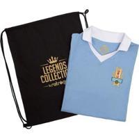 Camisa Uruguai Retrô Legends Collection + Sacola Masculina - Feminino-Azul