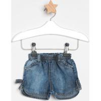 Short Jeans Com Laçosazul Escurolook Jeanslook Jeans