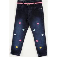 Calça Infantil Jeans Bordado Coração Marisa