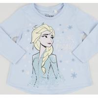 Blusa Infantil Elsa Manga Longa Azul Claro