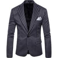 Blazer Masculino Com Riscas - Cinza Escuro Xgg