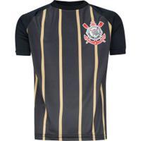 Camiseta Do Corinthians Stripes - Infantil - Preto/Ouro