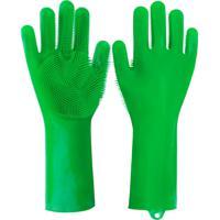 Luva Silicone Lava Louça Anti Térmica Verde