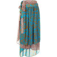 Maison Mihara Yasuhiro Contrast Floral Print Midi Skirt - Marrom