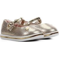 Sapato Infantil Molekinha Metalizado Feminino - Feminino-Dourado