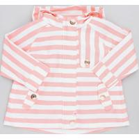 Jaqueta Infantil Listrada Com Capuz Rosa