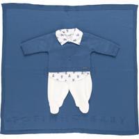 Saída De Maternidade Fofinho Social Luxo Tricô Azul Marinho