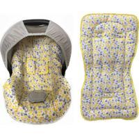 Conjunto Capa De Bebê Conforto E Capa De Carrinho Pássaro Alan Pierre Baby 0 A 13 Kg Amarelo