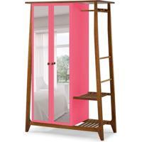 Guarda-Roupa Solteiro Stoka Com Espelho 2 Pt Nogal E Rosa