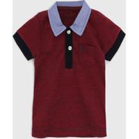 Camisa Polo Vrk Kids Infantil Bolso Vermelha