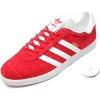 Tênis Couro Adidas Originals Gazelle Vermelho/Branco