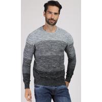 Suéter Masculino Degradê Listrado Em Tricô Gola Careca Cinza Mescla Claro