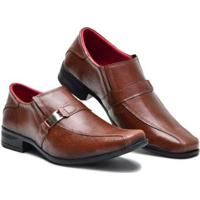 Sapato Social Couro Elástico Lateral Masculino - Masculino-Marrom