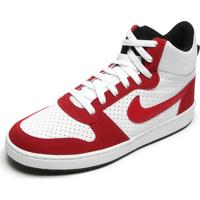 Tênis Nike Sportswear Court Borough Mid Branco/Vermelho
