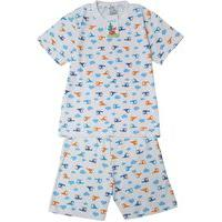 Pijama Infantil Masculino Babié Manga Curta Helicóptero Branco