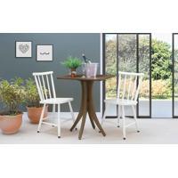 Conjunto Mesa Bistrô Quadrada Com 2 Cadeiras Juliette - Nogueira E Branco