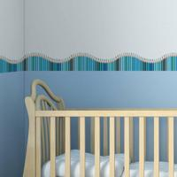 Faixa Decorativa Quartinhos Adesiva Infantil Lapis De Cor Azul 10Mx10Cm - Tricae