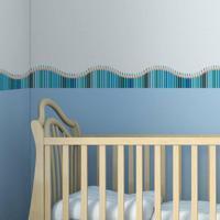 Faixa Decorativa Quartinhos Adesiva Infantil Lapis De Cor Azul 10Mx10Cm