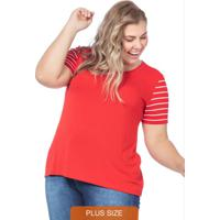 Blusa Básica Plus Size Com Listras Vermelho