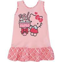 Camisola Cavada Meia Malha Sanrio Hello Kitty - Feminino-Rosa