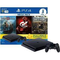 Playstation 4 Bundle V12 1Tb 1 Controle Sony Com 3 Jogos Ps Plus 3 Meses - Unissex