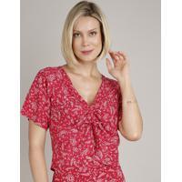 Blusa Feminina Cropped Estampada Floral Com Amarração Manga Curta Decote V Rosa Escuro