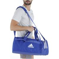 Mala Adidas 3S Duffel Conversível Trn Core M - Azul/Branco