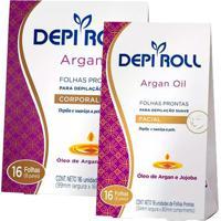 Kit Depi Roll Argan Oil Folha Depilatória Corporal + Folha Depilatória Facial