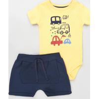Conjunto Infantil De Body Carrinhos Manga Curta Amarelo + Short Com Bolso Azul Marinho