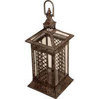 Lanterna Decorativa De Metal Envelhecido E Vidro Jiangsu